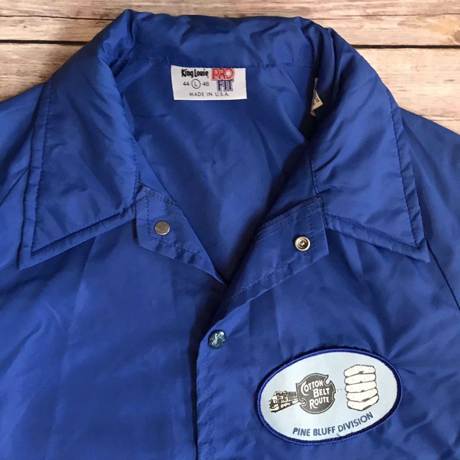 Vtg Pine Bluff Railroad Jacket Cotton Belt Nylon Union Made Usa L