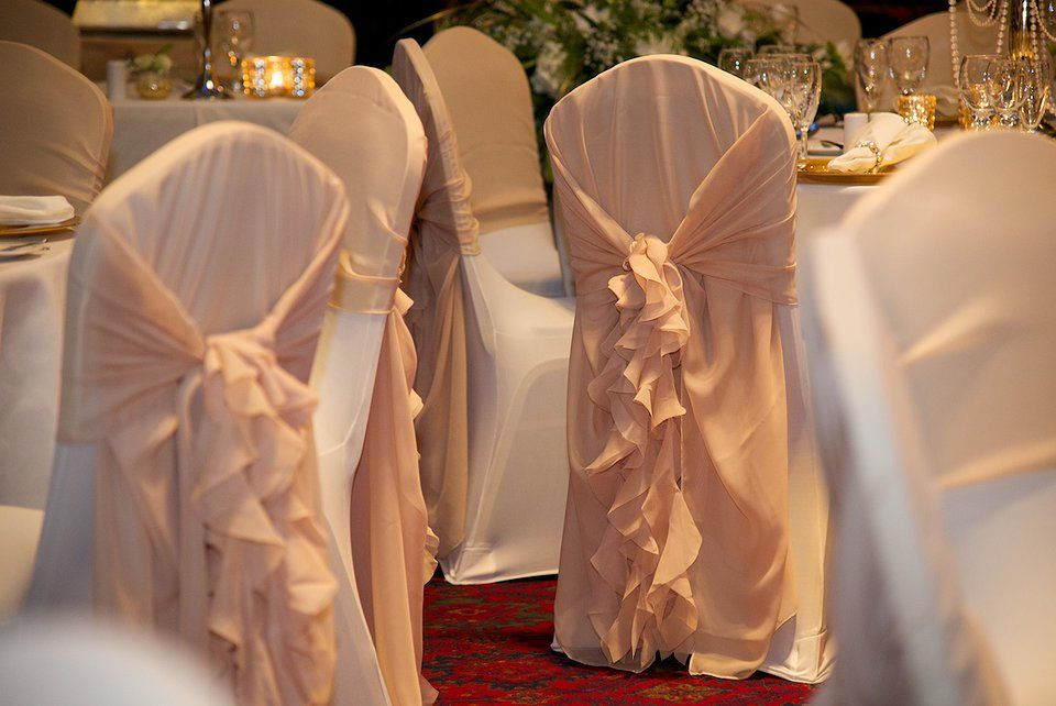 Ruffled Chair Cover Hire By Debonair Venue Styling Wedding Centrepieces Wedding Dec Wedding Reception Chairs Bridal Chair Cover Wedding Seat Covers