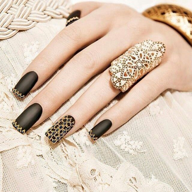 Matte Black Nails With Gold Nail Caviar Design Click For A Close