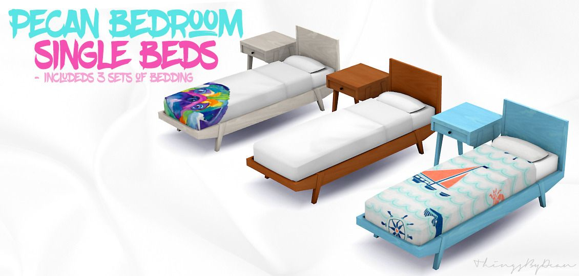 Pecan Bedroom I Single Beds I By Thingsbydean Via Tumblr I Sims 4 I