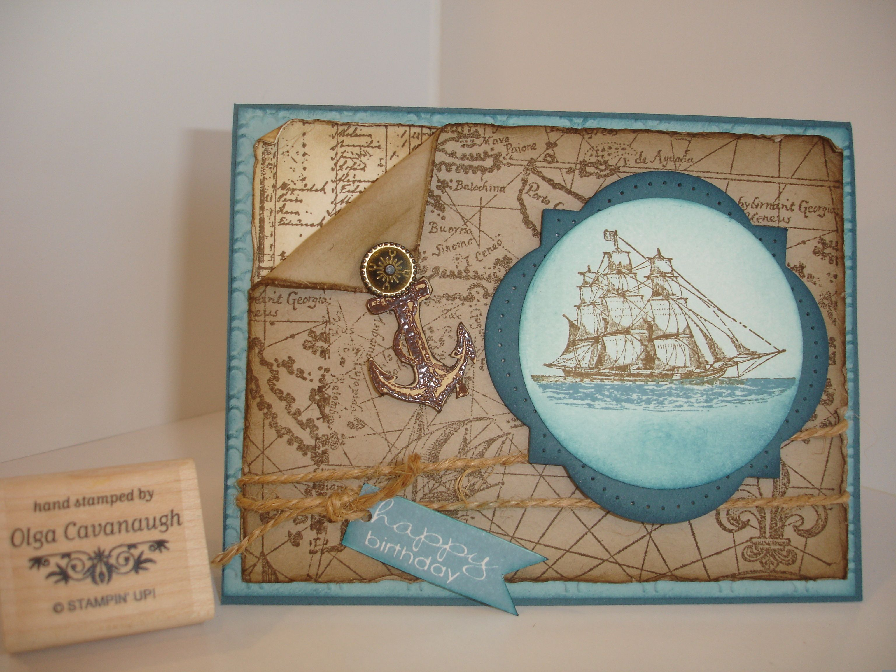 Stampin up birthday card made with su old world map background su