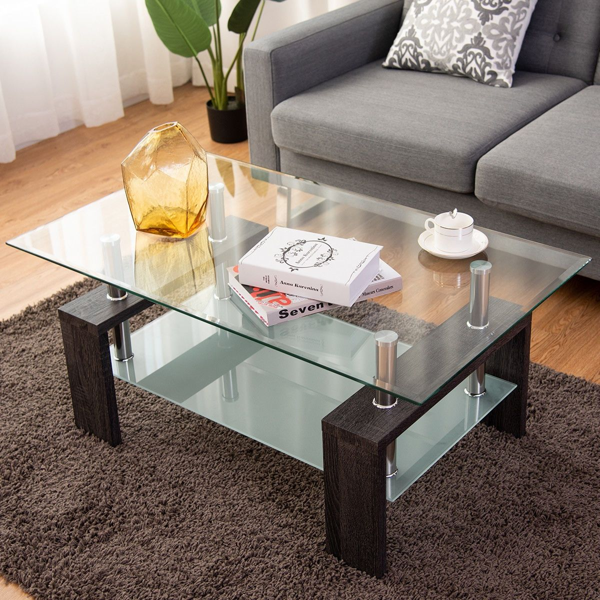 Rectangular Tempered Glass Coffee Table With Shelf Coffee Table Coffee Table With Shelf Coffee Table Rectangle [ 1200 x 1200 Pixel ]