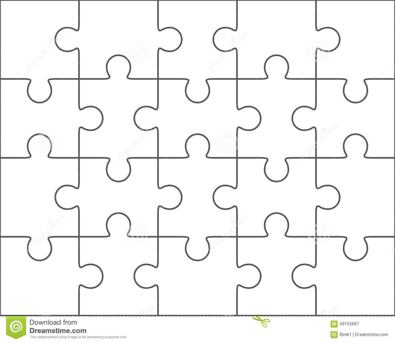 Jigsaw Puzzle Blank Template 4x5, Twenty Pieces Stock