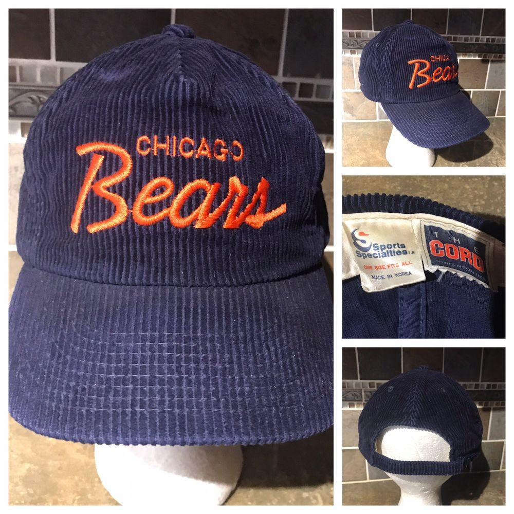 a5a9c75af77 Vintage Chicago Bears Script Sports Specialties Corduroy Adjustable Hat  A3752