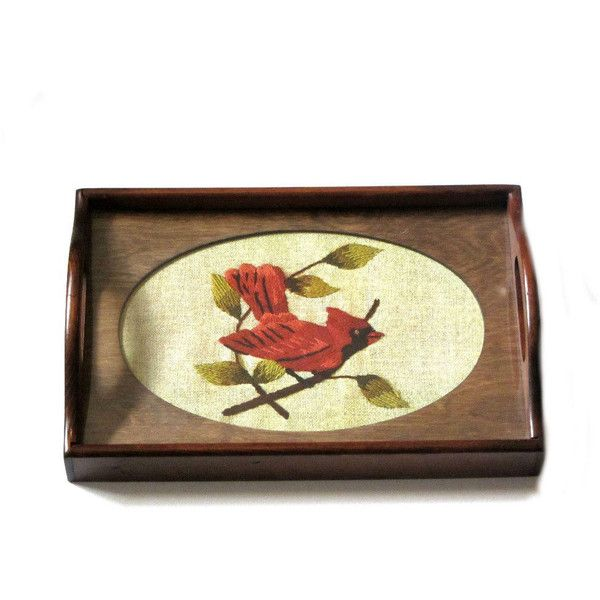 Vintage Wood Display Tray Three Mountaineers Oval Wooden Frame Glass ...