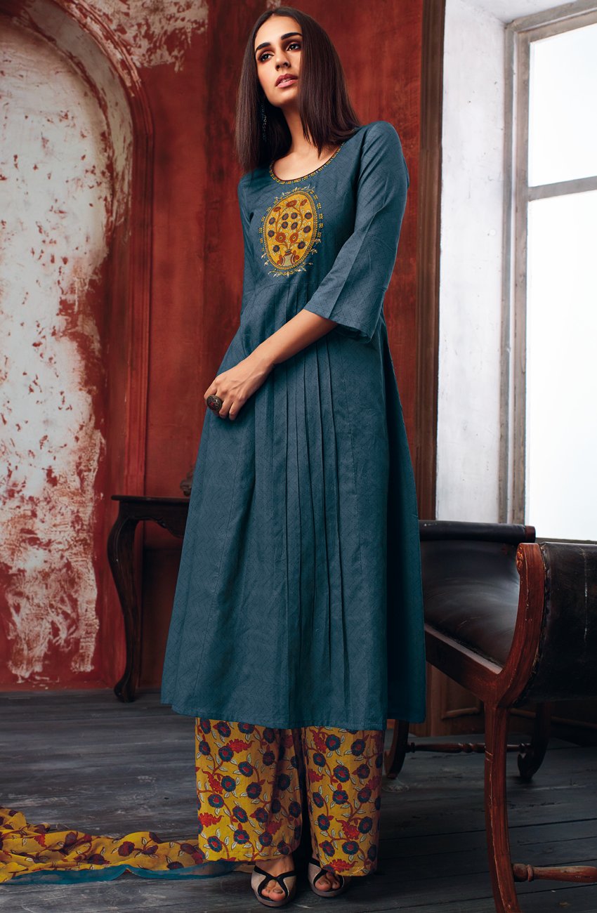 40155d5f23f Blue Cotton Printed Salwar Kameez - EKA4745