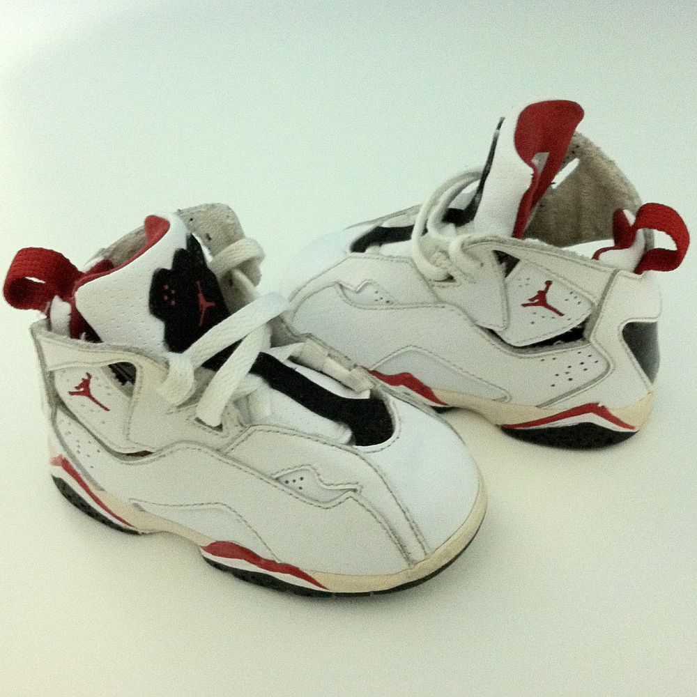 c88cc8f960b3 Nike Air Jordan True Flight 6C Baby Toddler TD Shoes Sneakers White Varsity  Red