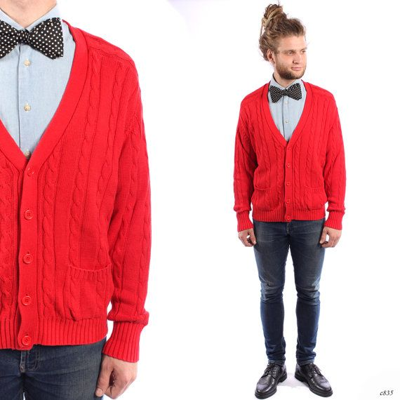 CABLE KNIT Cardigan . Mens Vintage Bright Red Sweater Braided ...
