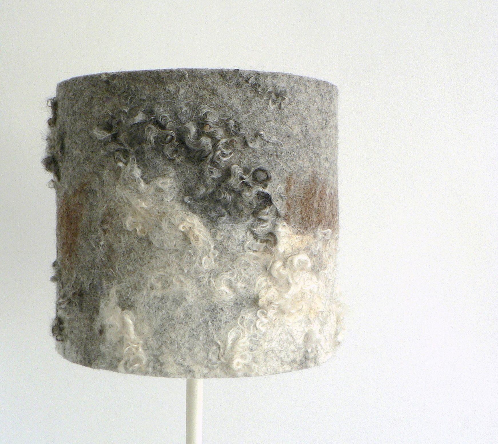 grey brown and white wool felt lampshade. grijs, bruin en witte vilten lampenkap