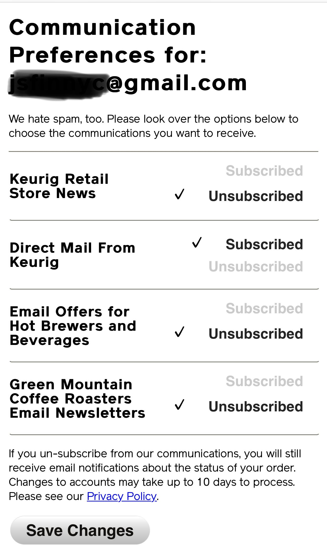 Green coffee spam