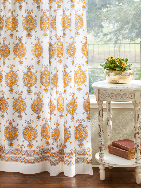 Versailles French Yellow Grey Medallion White Shower Curtain