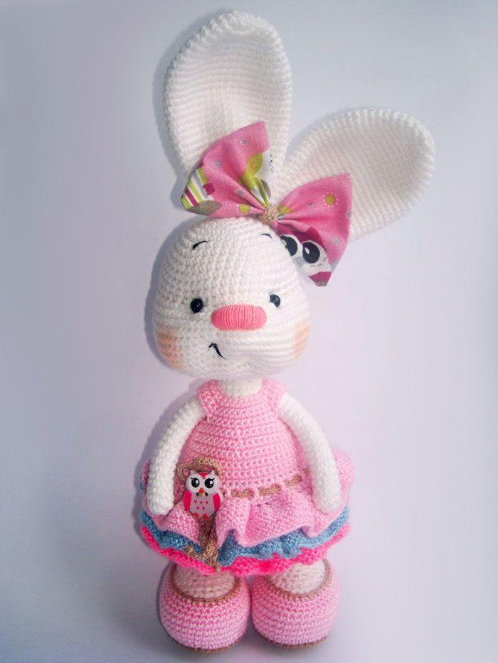 Pretty bunny amigurumi in dress | Tejidos | Pinterest | Mantas de ...