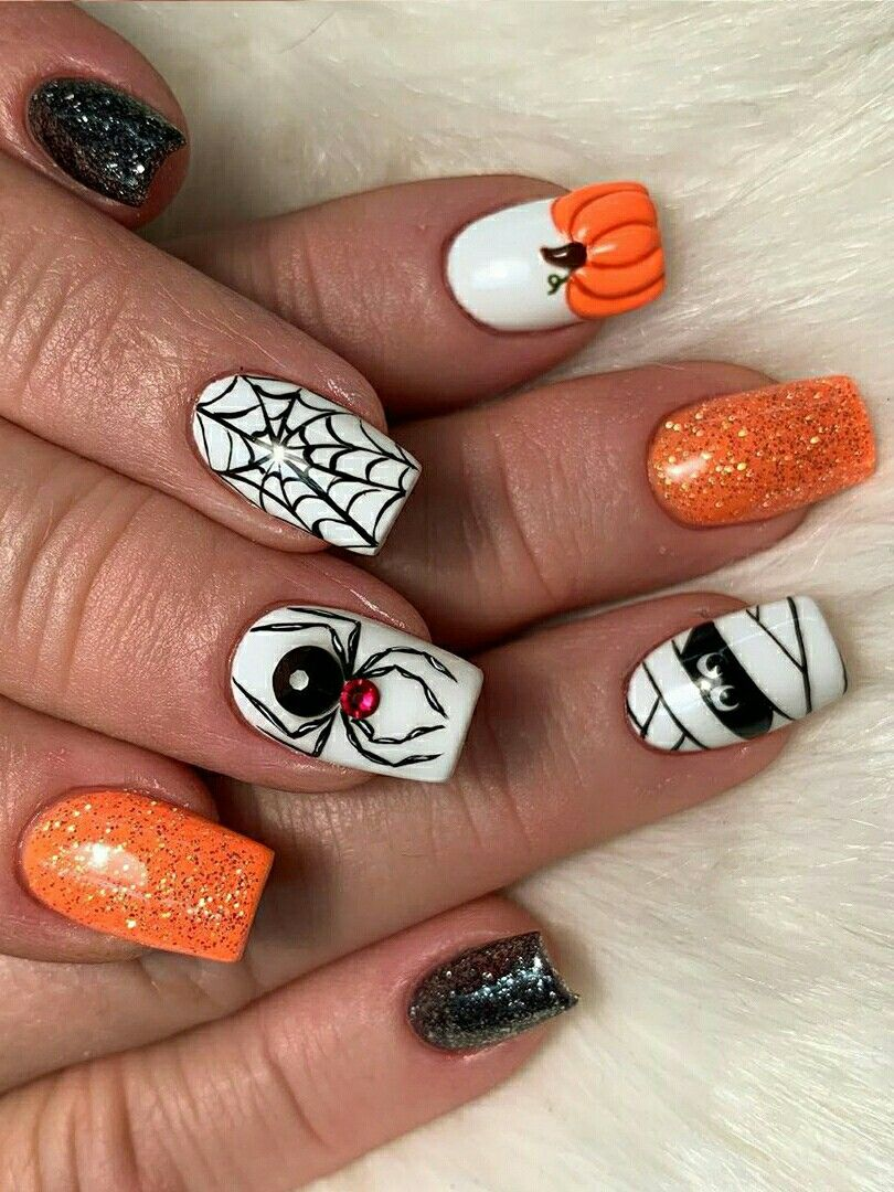 Halloween Spider Web Short Nails 2019 Idea | Halloween ...