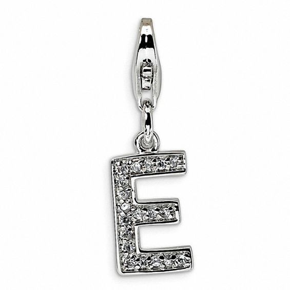 Amore La Vita Sterling Silver CZ Letter F with Lobster Clasp Charm