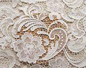 Tissu dentelle blanc avec un motif Floral rétro, mariée dentelle, dentelle pour robe de mariée