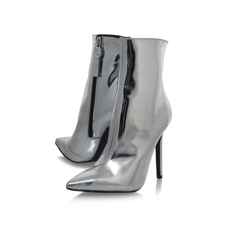 Good Silver High Heel Ankle Boots By