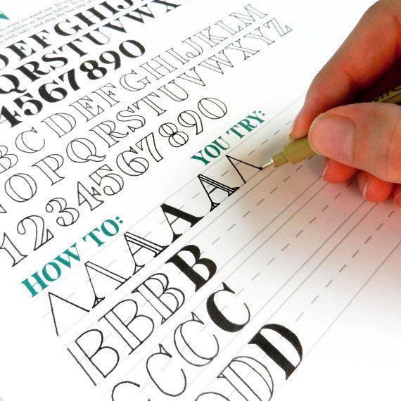 Printable Hand-Lettering Worksheet Set - 26 Page Set ...