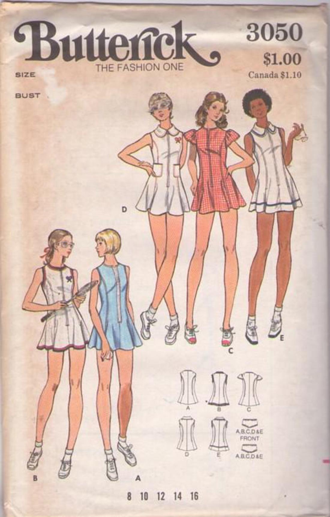 Butterick 3050 Uncut Complete Size 10 32 1 2 Tennis Dress Pattern Tennis Dress Butterick Sewing Pattern