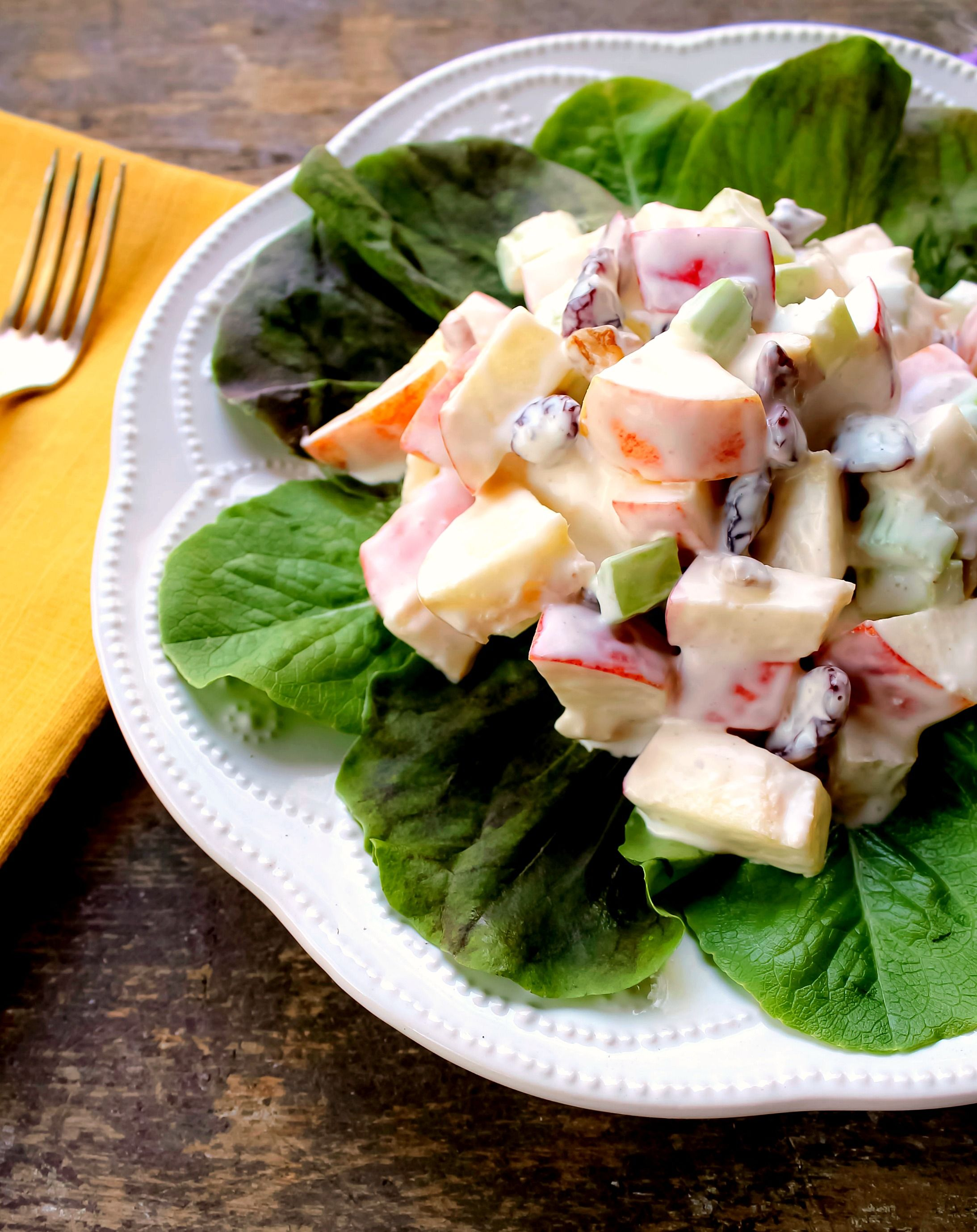 This Delicious Waldorf Salad Has Crispy Apples Nuts Celery And Cranberries Enveloped In A Mayonnaise X2f Sour Cream Waldorf Salad Recipes Best Salad Recipes