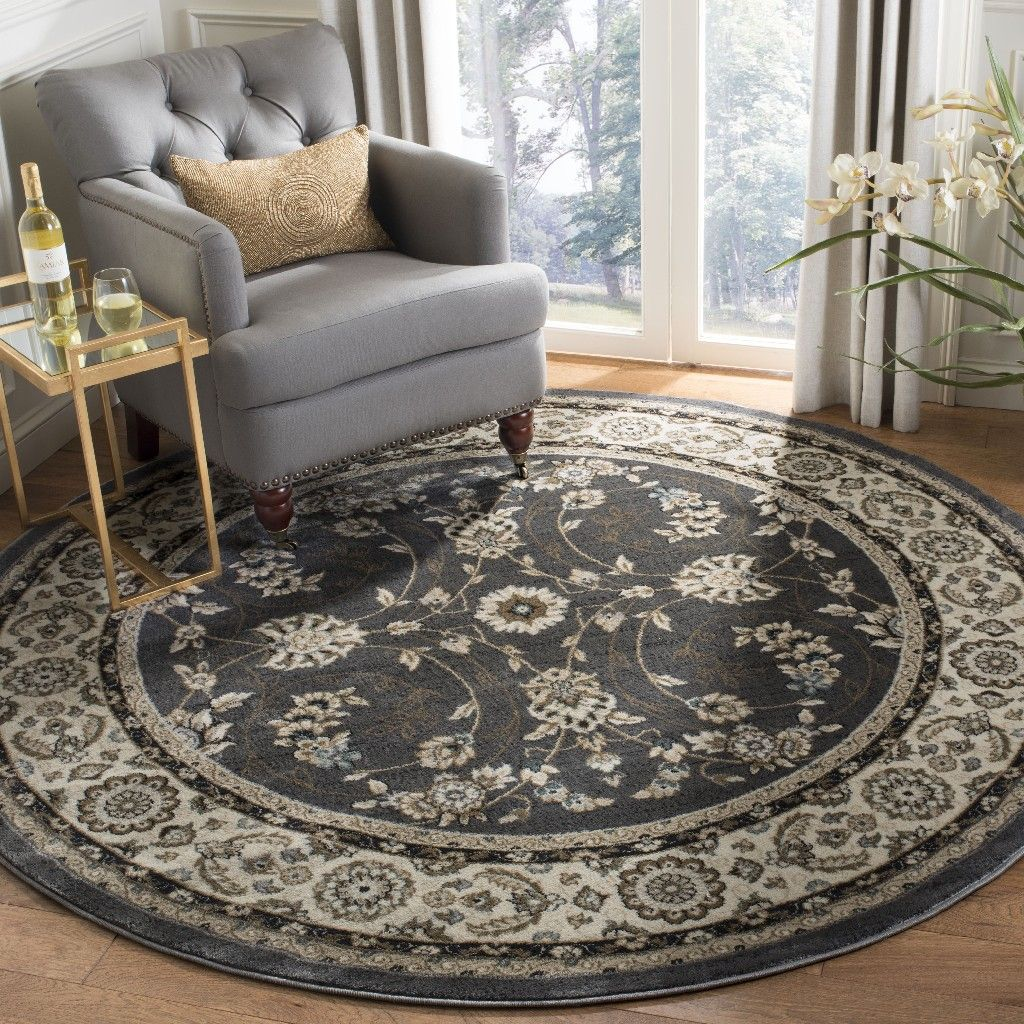 Round Rug In Grey And Cream