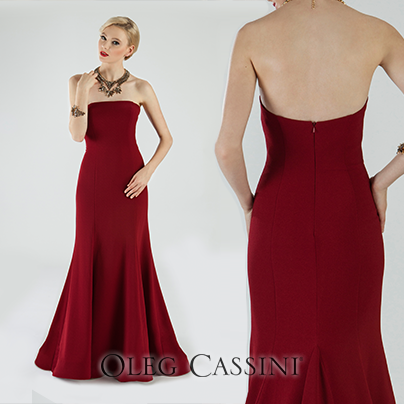 Oleg Cassini Strapless Evening Dress | Oleg Cassini Evening Dresses ...