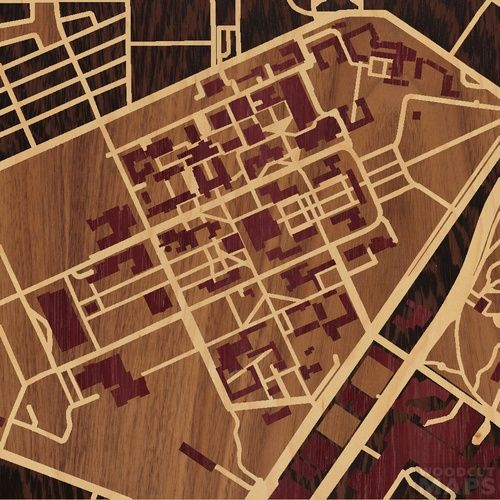 8 X8 Woodcut Map Of Houston College Campus Maps Pinterest