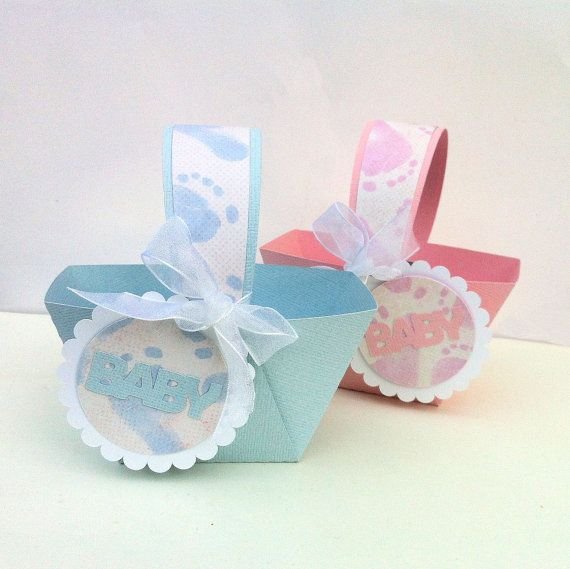 Baby Shower Thank You Gift Boxes : Baby shower favor baskets in pink or blue feet mini