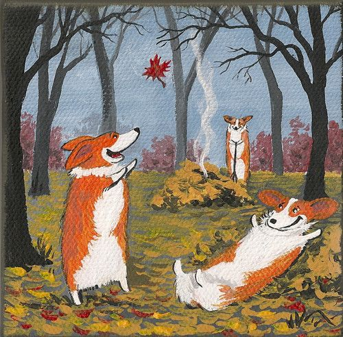 PRINT OF PAINTING PEMBROKE WELSH CORGI RYTA 4X4 HALLOWEEN AUTUMN LEAVES FOLK ART