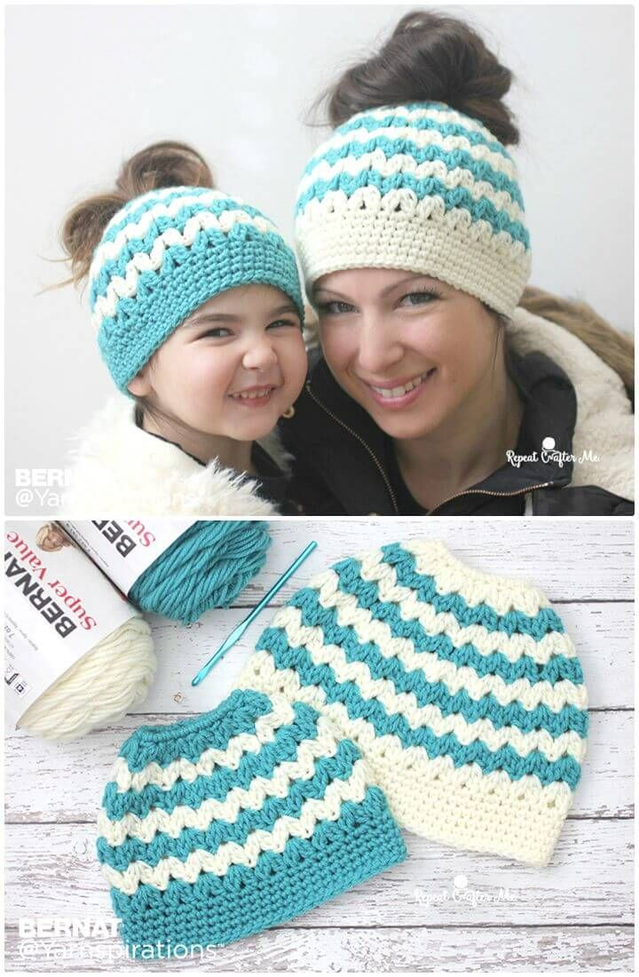 Free Crochet Mommy And Me Messy Bun Hats Pattern Crochet Hat Patterns 148 Free Patterns Fo Crochet Hats Crochet Hat Free Crochet Messy Bun Hat Pattern Free