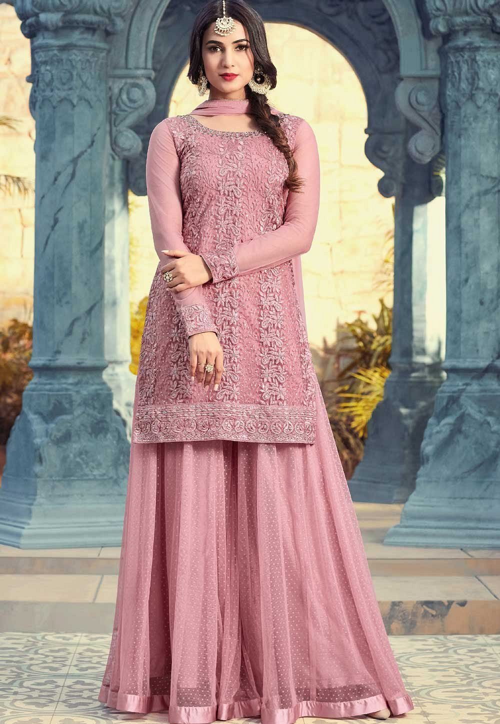 3a2dbf88a3 Buy Sonal Chauhan onion pink georgette sharara style suit in UK, USA and  Canada