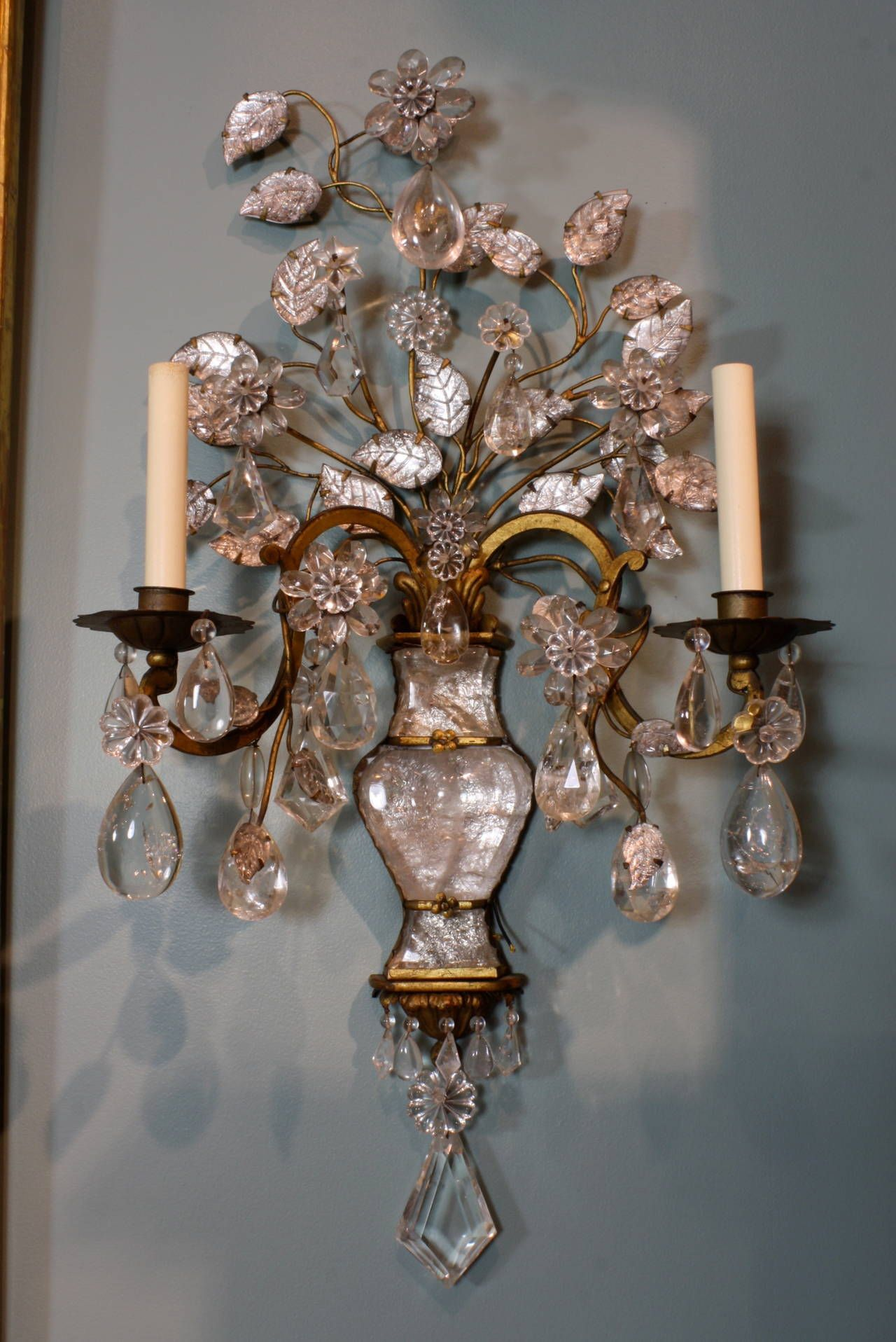 Spectacular Pair of Maison Bagues Rock Crystal Sconces | From a unique collection of antique and modern wall lights and sconces at ... & Spectacular Pair of Maison Baguès Rock Crystal Sconces | Pinterest ...