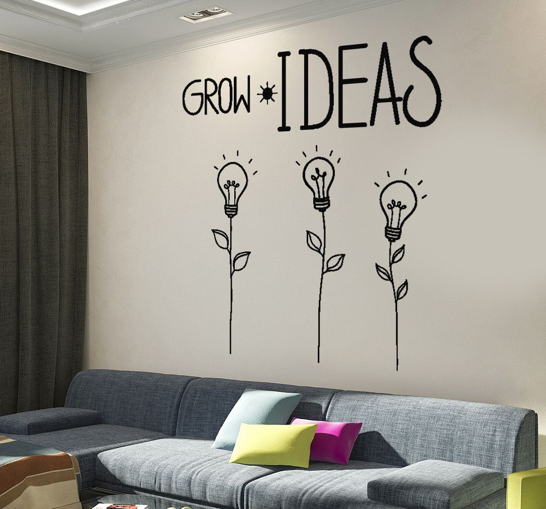 Wall decal motivation quotes grow ideas creative flower home interior z4015