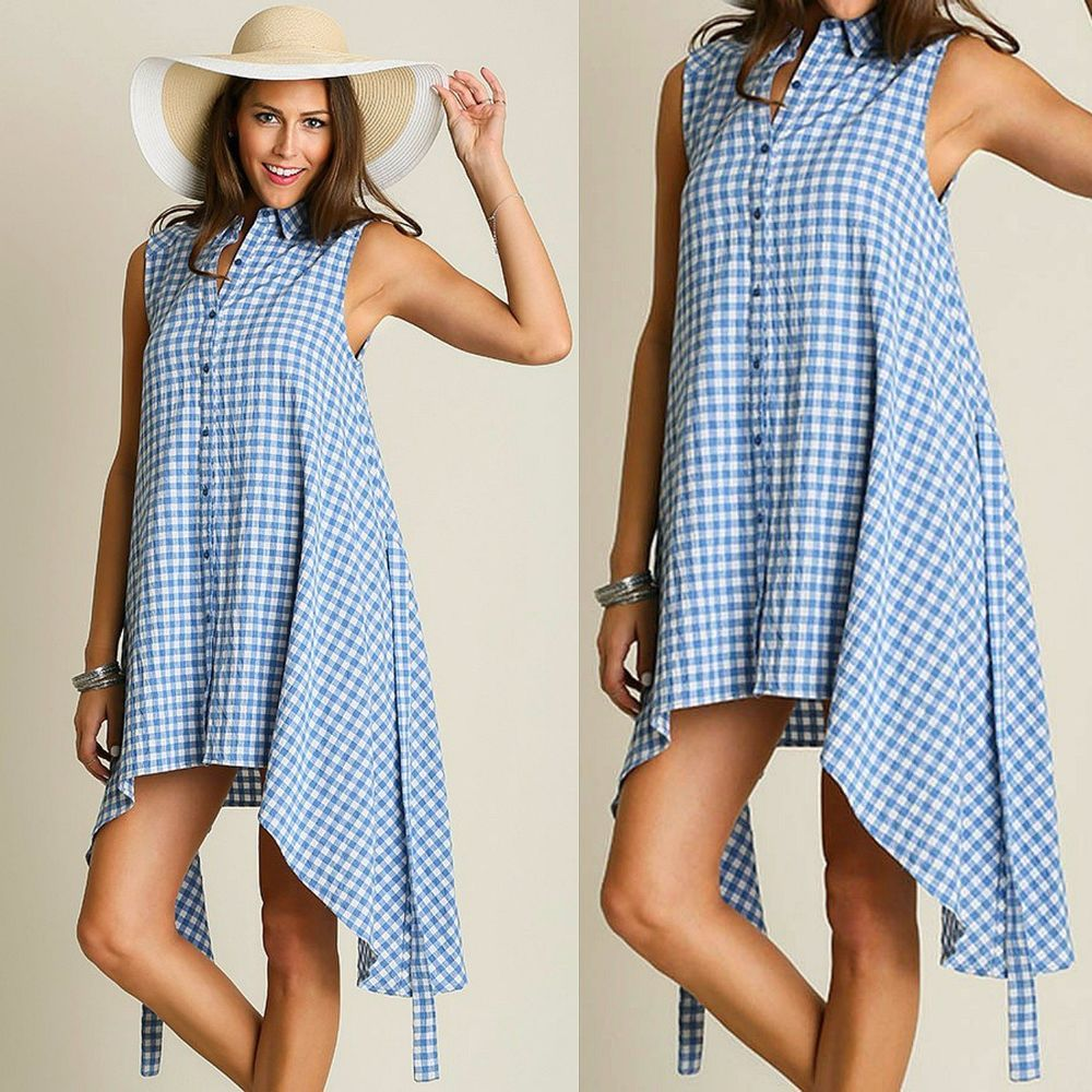 Umgee USA Gingham Check Blue White Sleeveless Swing Button Up Shirtdress  Tunic