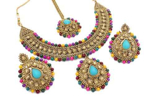 7170a23b39 Antique Gold Indian Multi Coloured Necklace Earring Tikka Jewellery Jewelry  Set Mehndi Wedding