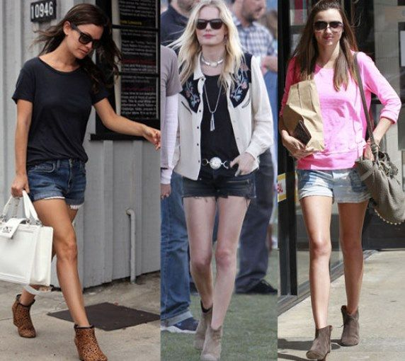 Ankle Boots w/ shorts. For denim shorts, pair them with black ankle boots while khaki shorts will look great with brown ankle boots.  Neutral color tops in white, black, grey or cream will definitely be the perfect match with denim short. Tuck in the top to make it more appealing and belt the shorts with a thin leather belt that matches your boots.  Accessorize with a medium size handbag that will complement the top or the boots, necklace, and earrings. Finish off with dark sunglasses and.