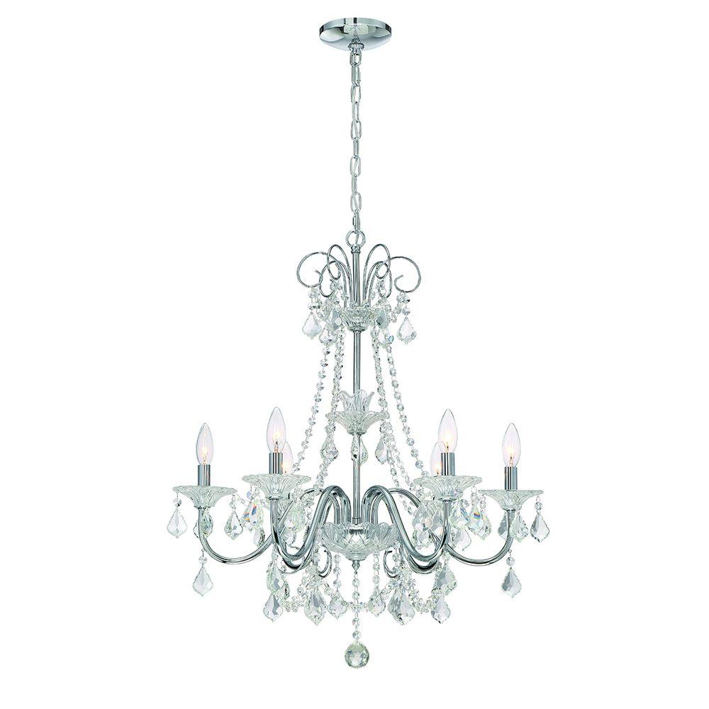 Add An Elegant Brilliance To Your Home With The Home Decorators 6 Light Crystal Ch In 2020 Crystal Chandelier Dining Room Light Fixtures Contemporary Bathroom Lighting