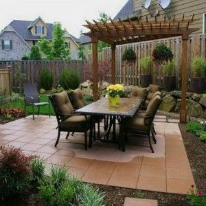 outdoor-dining-set-and-patio-pavers-with-pergola-for-small-backyard Inexpensive Backyard Ideas Pavers on inexpensive ideas for small backyards, inexpensive deck ideas, inexpensive outdoor living ideas, inexpensive backyard patio ideas,