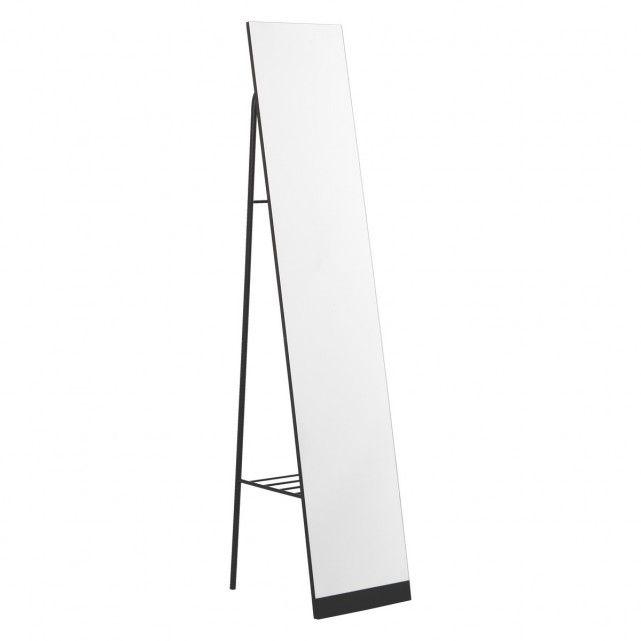 Leni Black Metal Free Standing Mirror With Storage