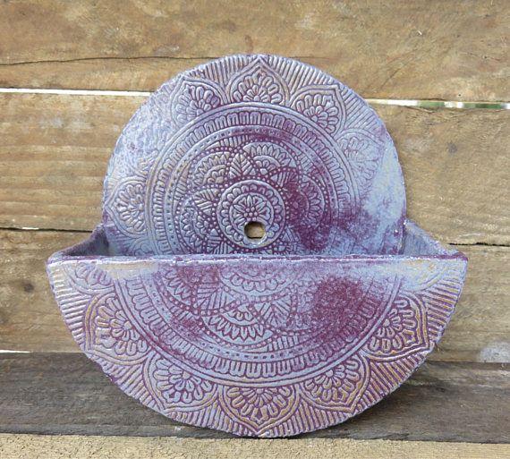 Wall Mounted Planter Ceramic Hanging Handmade Mandala Design Purple Succulent