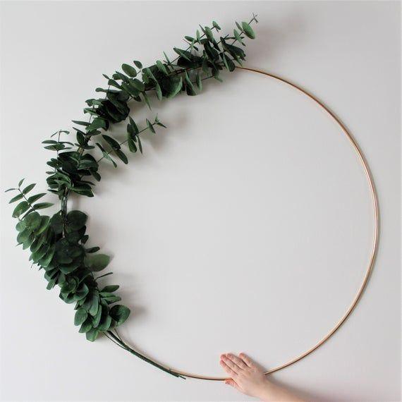 Photo of EXTRA LARGE Eucalyptus Wreath, minimalist foliage wreath,  artificial floral wreath, wall wreath sca