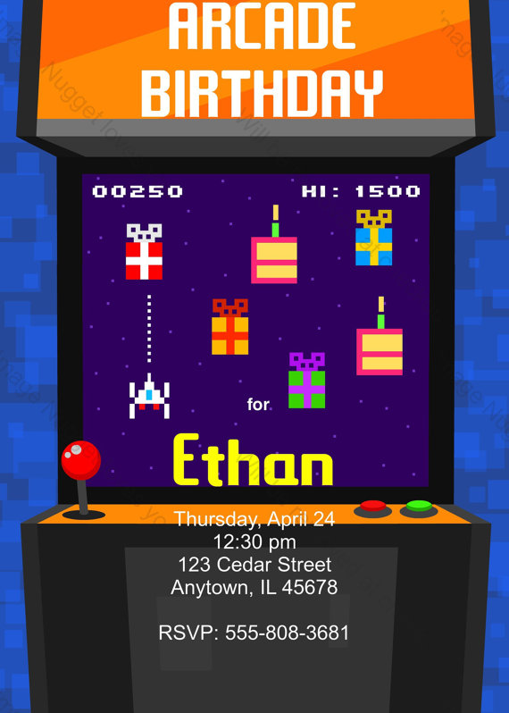 Video Game 8bit Birthday Party Invitation printable birthday – Arcade Party Invitations