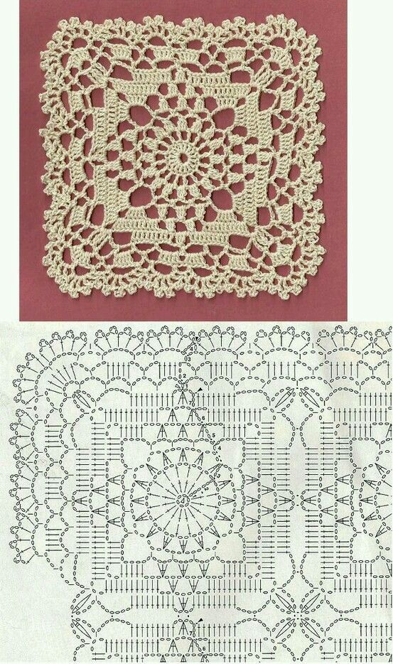 Crochet Lace Bedspread Square With Edging   crochê   Pinterest ...