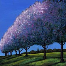 spring trees in bloom landscape painting and prints