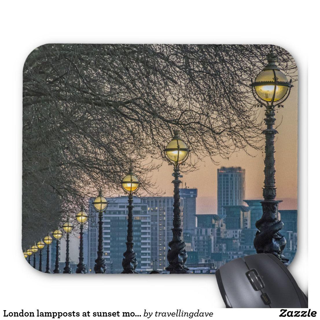 London Lampposts At Sunset Mousepad Mouse Pad London Mouse Mat