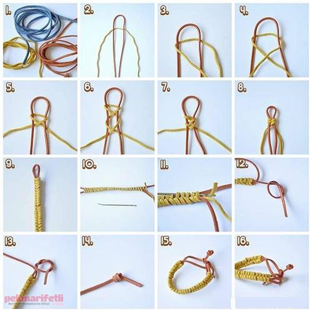 Deri iplerle rme bileklik yapm tak tasarmlar pinterest craft baditri Image collections