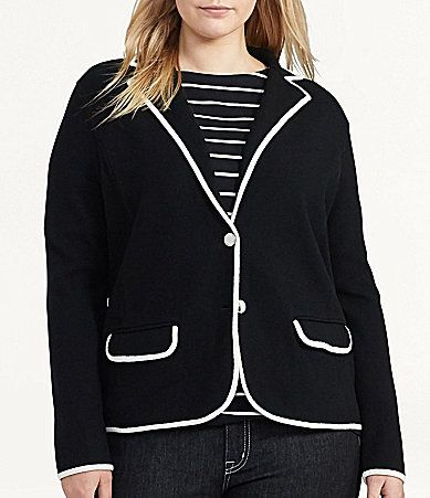 Lauren Ralph Lauren Plus Stretch Cotton Sweater Blazer #Dillards ...