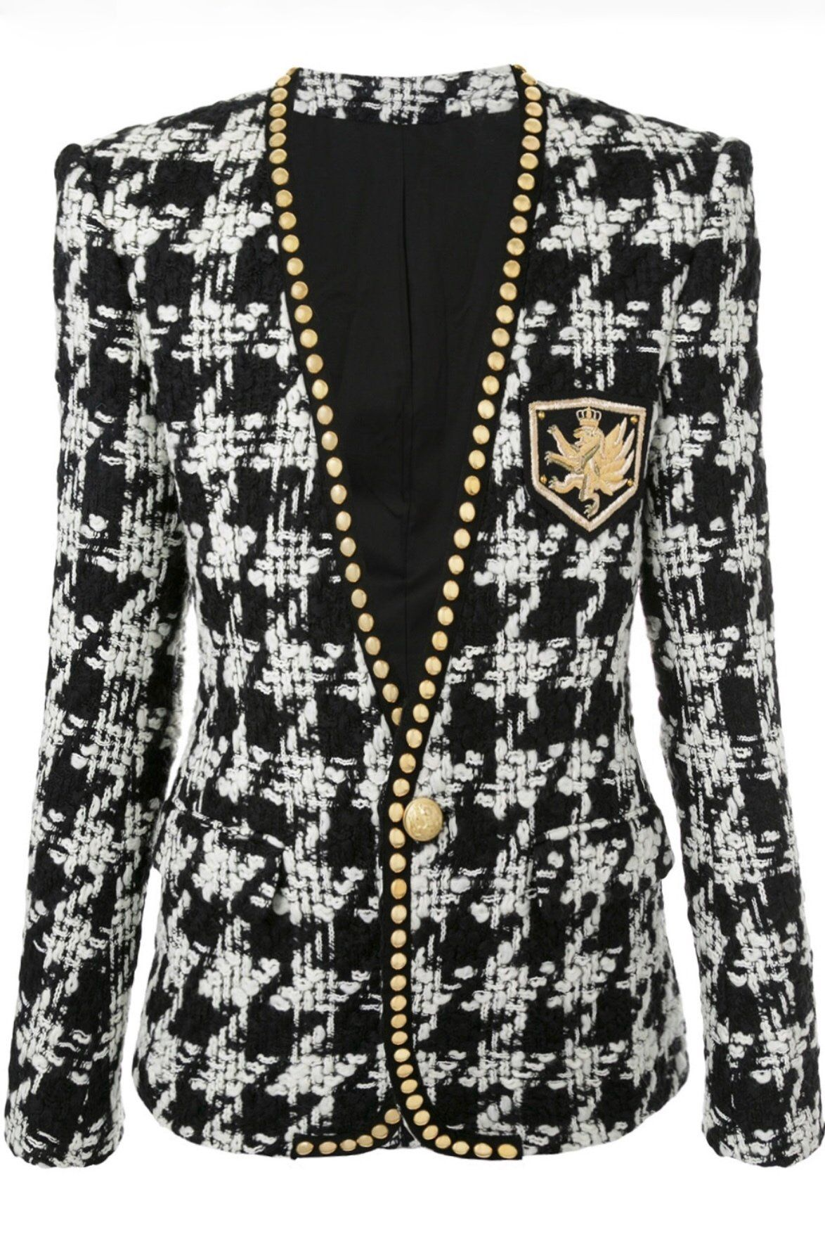 a8ba71fe3 Houndstooth Studded Blazer in 2019 | Clothes | Fashion, Balmain ...