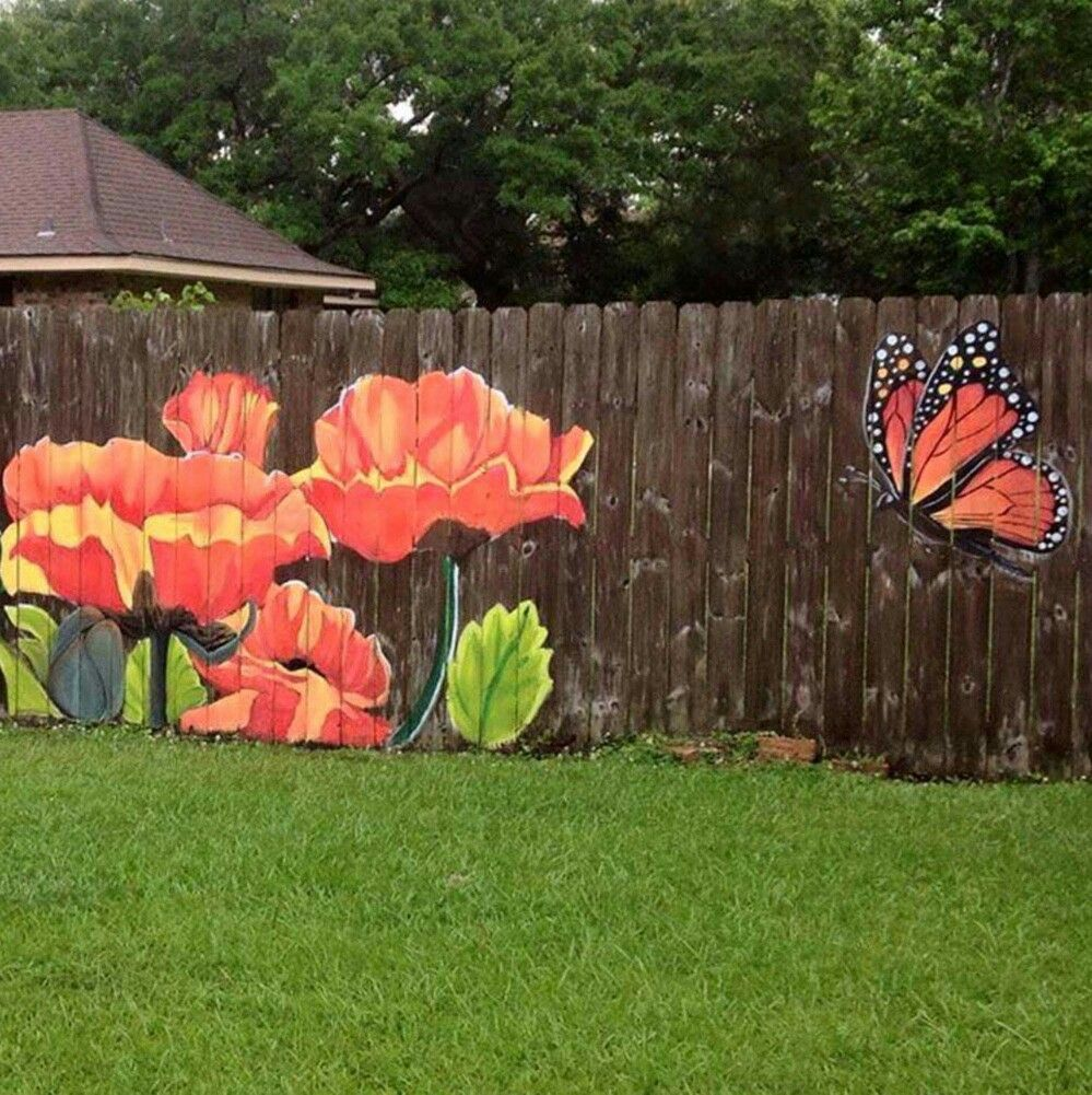 Paint a picture on the fence privacy fence hub Garden wall color ideas