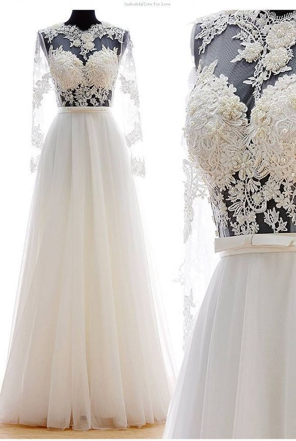 >> Click to Buy << See-through Modest Long Sleeves Turkey Wedding Dress renda Lace Round Neckling Dresses Wedding Bridal 2016 #Affiliate