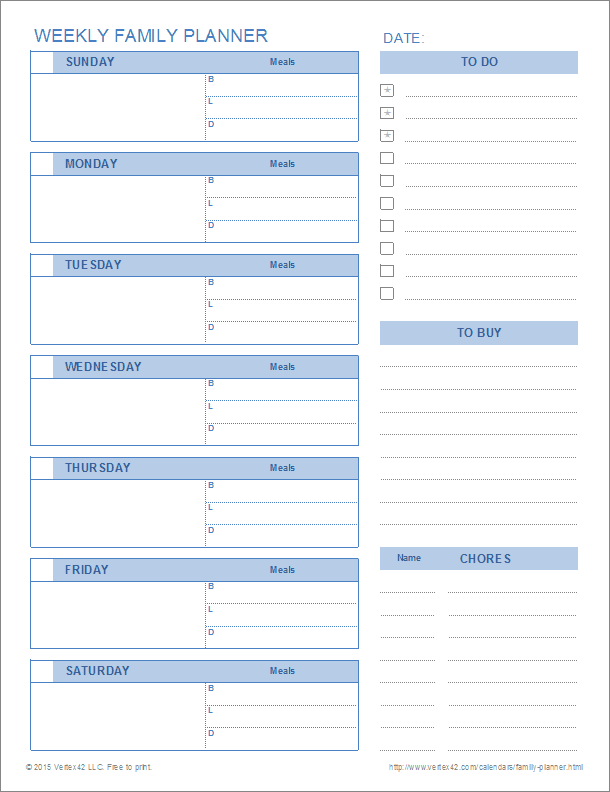 Free Printable Weekly Family Planner Pdf From Vertex42 Com